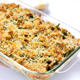 Scratch Made Green Bean Casserole with Crispy Shallot Topping