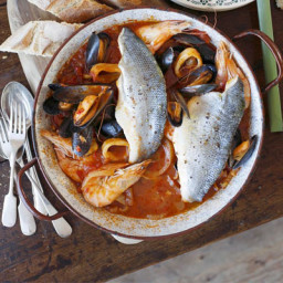 Sea bass and seafood Italian one-pot