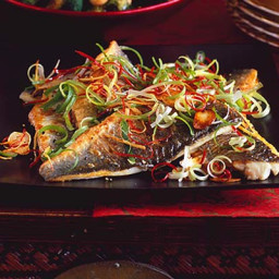 Sea bass with sizzled ginger, chilli and spring onions