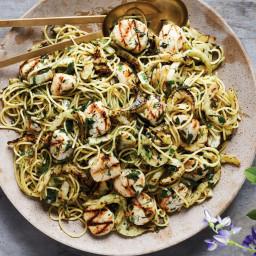 Sea Scallops Over Shallot-Herb Pasta