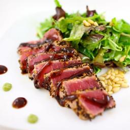 Seared Ahi Tuna and Salad of Mixed Greens with Wasabi Vinaigrette
