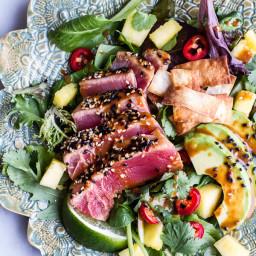 Seared Ahi Tuna Poke Salad with Hula Ginger vinaigrette + Wonton Crisps.