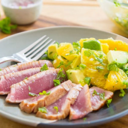 Seared Ahi Tuna with Orange Mint Avocado Salsa