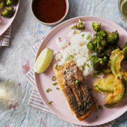 Seared Barramundi & Sushi Rice with Avocado Tempura & Roasted Brocc