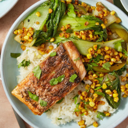 Seared Barramundi and Ginger Ricewith Bok Choy and Lime Soy Sauce