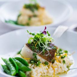 Seared Black Cod with Meyer Lemon Risotto and Gremolata