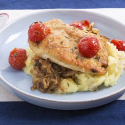 Seared Chicken and Caramelized Vegetableswith Roasted Cherry Tomatoes and M