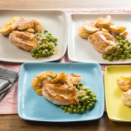 Seared Chicken and Crispy Smashed Potatoeswith Braised Peas