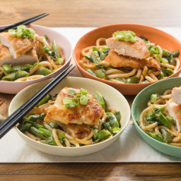 Seared Chicken and Miso Udon Noodleswith Sautéed Sugar Snap Peas and Pea Ti