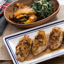 Seared Chicken and Roasted Acorn Squashwith Sautéed Kale and Chestnut Pan S