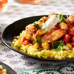 Seared Chicken and Saffron Couscouswith Summer Squash and Red Bell Pepper