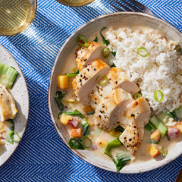Seared Chicken in Coconut-Peach Broth with Bok Choy & Jasmine Rice