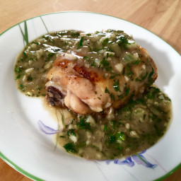 Seared Chicken Thigh with Rosemary Garlic Pan Sauce