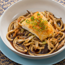 Seared Cod and Udon Noodleswith Cabbage and Shiitake Mushroom Broth