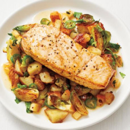 Seared Halibut with Brussels Sprout Hash