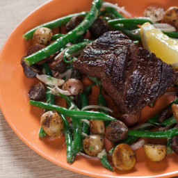 Seared Hanger Steakwith Rosemary Fingerling Potatoes and Green Bean Salad
