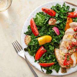 Seared Pork Chops & Salsa Verde with Kale, Radishes, & Sweet Pepper