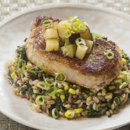 Seared Pork Chops and Plum Salsawith Corn, Kale and Farro Salad