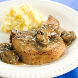 Seared Pork Chops with Mushroom Gravy