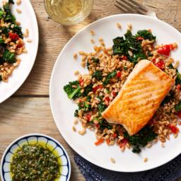 Seared Salmon & Salsa Verde with Sweet Piquante Pepper & Farro Sala