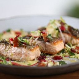 Seared Salmon and Brussels Sprout-Apple Salad with Bacon and Maple-Thyme Vi