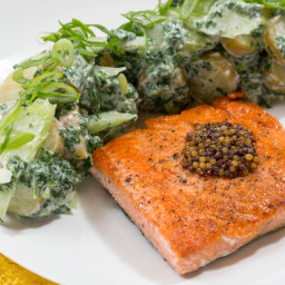 "Seared Salmon and ""Green"" Potato Saladwith Pickled Mustard Seeds"
