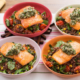 Seared Salmon and Salsa Verdewith Summer Vegetable and Quinoa Salad