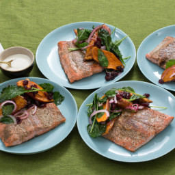 Seared Salmon and Sweet Potato Saladwith Lemon Crème Fraîche