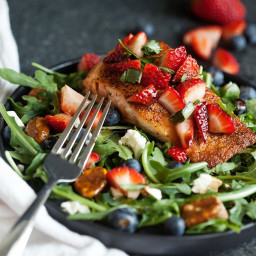 Seared Salmon Salad with Strawberry-Basil Relish