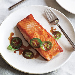 Seared Salmon with Soy-Jalapeño Sauce