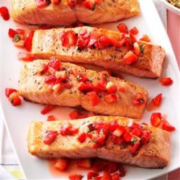 Seared Salmon with Strawberry Basil Relish