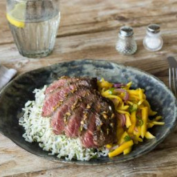 Seared Serrano Steak with Sweet Mango Slaw & Cilantro Rice