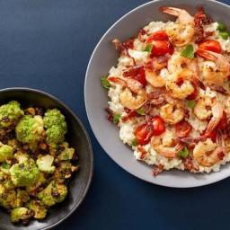 Seared Shrimp & Mascarpone Risotto with Crispy Prosciutto & Sicilia
