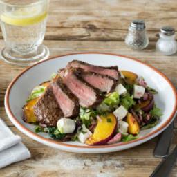Seared Steak & Charred Nectarine Salad with Feta, Pecans, and Basil