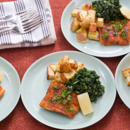 "Seared Steakhouse Salmonwith Roasted Potatoes and ""Creamed"" Kale"