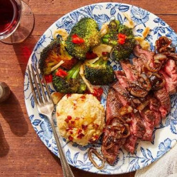 Seared Steaks & Hot Honey Biscuits with Glazed Shallot & Roasted Br
