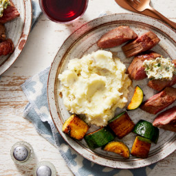 Seared Steaks & Parsley-Caper Butter with Creamy Mashed Potatoes &