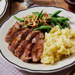Seared Steaks & Thyme Pan Sauce with Mashed Potatoes, Green Beans, &