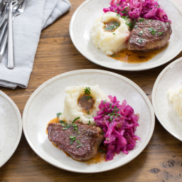 Seared Steaks and Mashed Potatoeswith Braised Red Cabbage and Apples