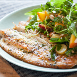 Seared Troutwith Peach and Arugula Salad