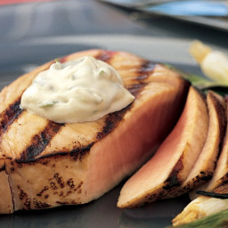 Seared Tuna Steaks with Wasabi-Green Onion Mayonnaise