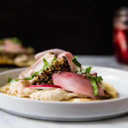 Seared tuna tostadas with white bean and Japanese 7-spice