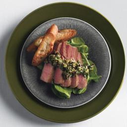 Seared Tuna with Olive-Tapenade Vinaigrette and Arugula