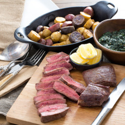 """Seared Flank Steakswith Roasted Potatoes and """"Creamed"""" Kale"""