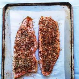 Seed-encrusted trout