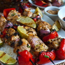 Sesame Chicken Skewers with Sriracha-Soy Dipping Sauce