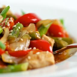 Sesame Chicken with Stir-fried Vegetables