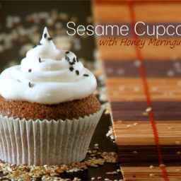 Sesame Cupcakes with Honey Meringue Frosting