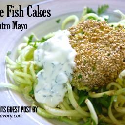 Sesame Fish Cakes with Cilantro Mayo