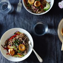 "Sesame Noodle Salad with Seared Mushroom ""Scallops"""